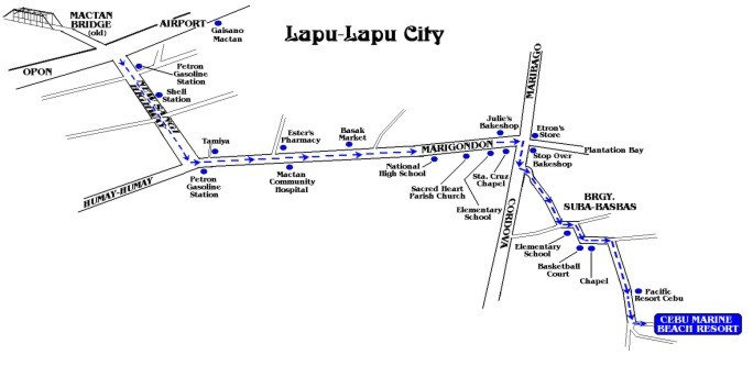cebu marine beach resort map travelsmart net